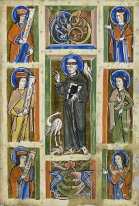 Franciscus preekt voor de vogels, miniatuur, ca. 1230-1240, Badische Landesbibliothek, Karlsruhe