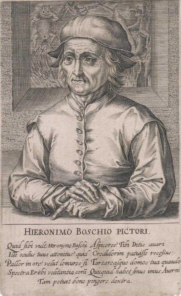 Portret van de schilder Jheronimus Bosch met gedicht van Domenicus Lampsonius 1572