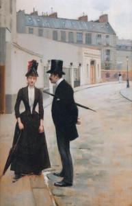Jean Béraud, het voorstel of de afspraak in de rue Chateaubriand, 1885