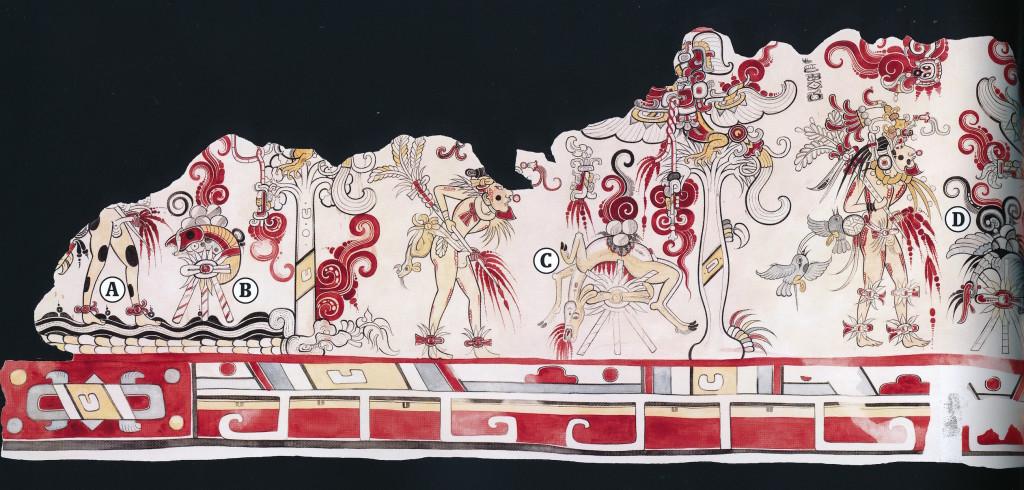 Muurschildering met bloedige rituelen in de piramide San Bartolo Guatemala