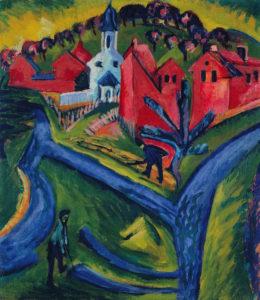 Ernst L. Kirchner_Dorp met blauwe wegen_1916-1920