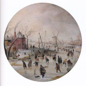 Hendrick Avercamp, Bevroren rivier met schaatsers, rond 1620