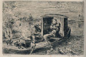 Daubigny, ets, middagmaal, boot