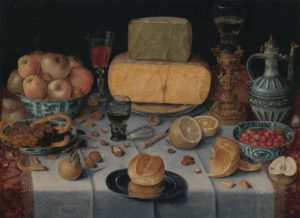 Nicolaes Gillis, stilleven met kazen en fruit