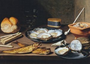 Van schooten Stilleven met haringen en oesters