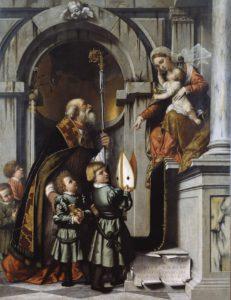 Moretto, St Nicolaas en Madonna
