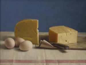 Helmantel, kaas en eieren