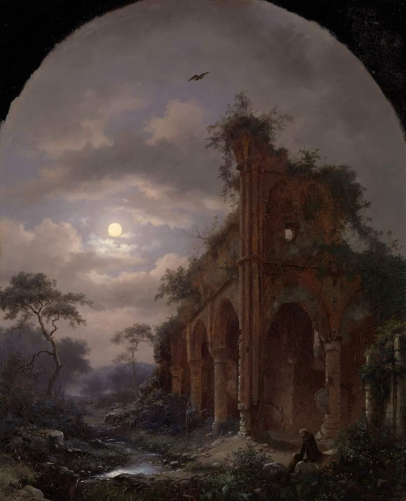 Kruseman, monnik, ruïne