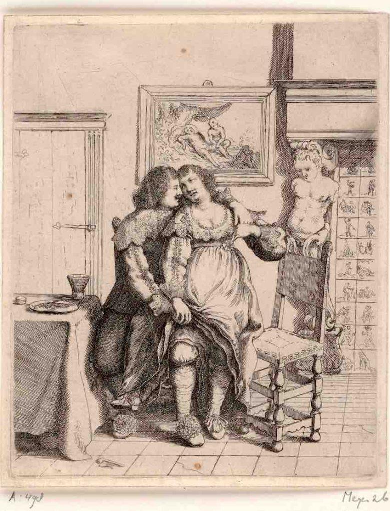 Basse, Vrouw bij man op schoot