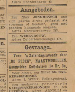 Advertentie Naaktmodellen