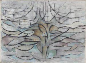 Mondriaan bloeiende appelboom
