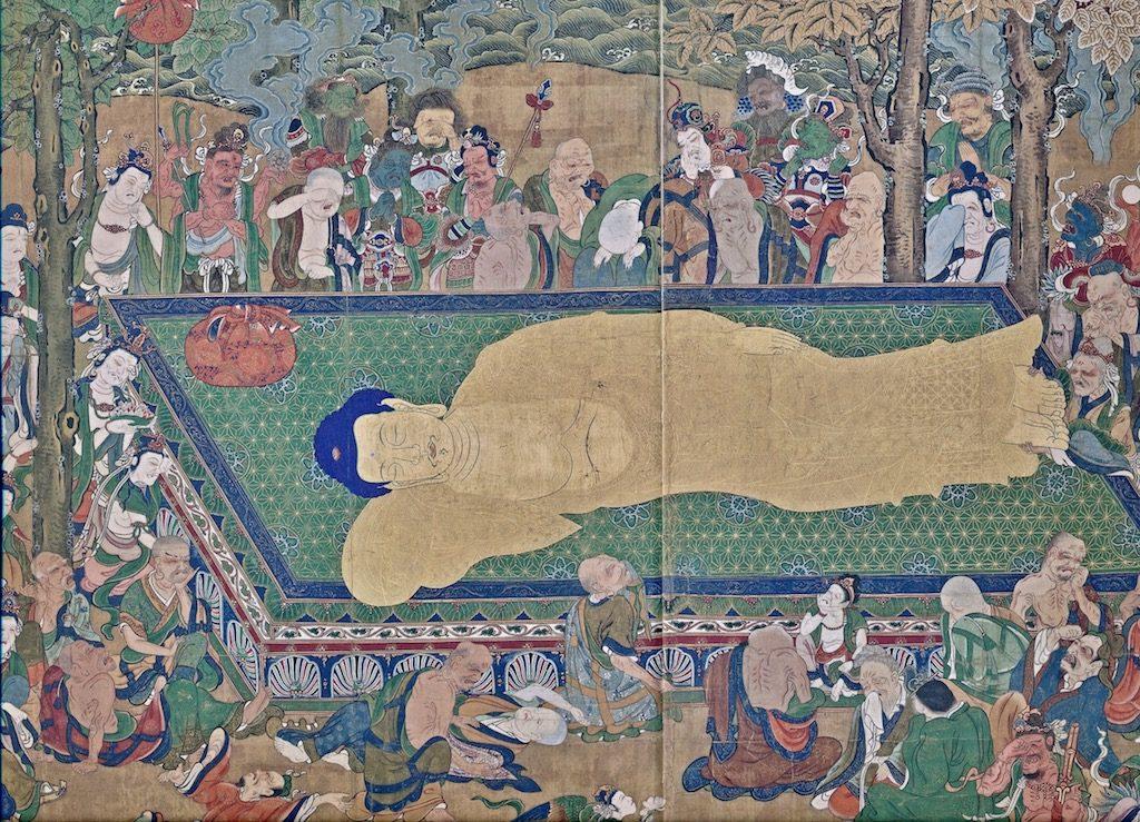 Parinirvãna, death Buddha, silk