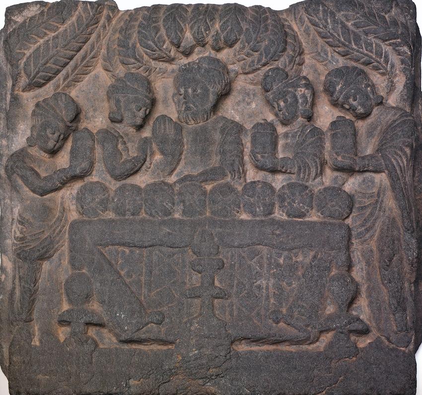 Reliëf van leisteen Gandharacultuur